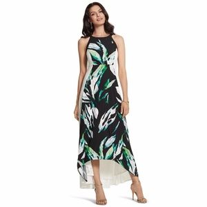 Chico's 1 Dress Green Maxi Palm Passion Sleeveless